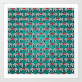 Elephant Heart Aqua Art Print