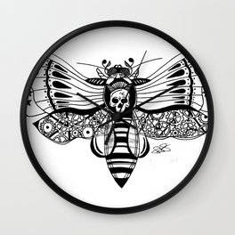 Zentangle Death Moth Wall Clock