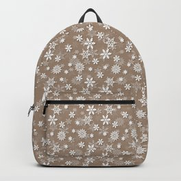 Christmas Woodland Bronzed Brown Snow Flakes Backpack