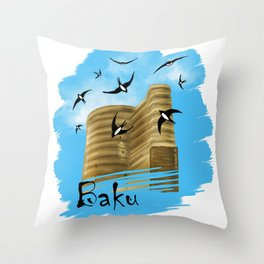 Baku. Maiden Tower Throw Pillow