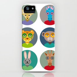 Set of animals faces circle icons set in Trendy Flat Style. zoo iPhone Case