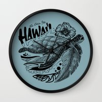 hawaii Wall Clocks featuring Hawaii by Krikoui