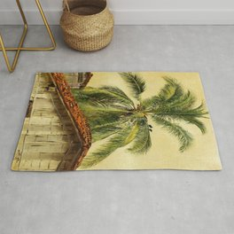 Palm Trees and Housetops, Ecuador - Frederic Edwin Church Rug