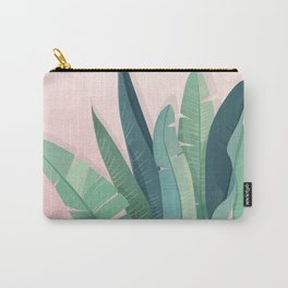 Tropical plants on pink background Carry-All Pouch