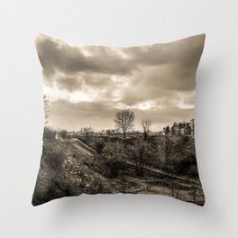 Lonely Tree Hill Dramatic Sky sepia Throw Pillow