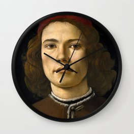 """Sandro Botticelli """"Portrait of a Young Man"""" (II) Wall Clock"""