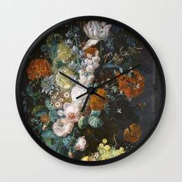 Margareta Haverman - A Vase Of Flowers Wall Clock