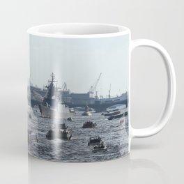 Russian Navy Battleships with passenger boats on Neva River. Coffee Mug