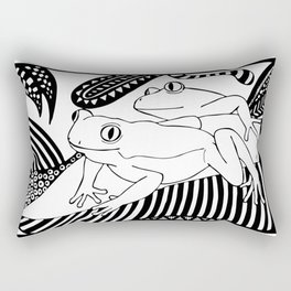 Black and white frogs outline drawing Rectangular Pillow