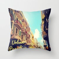 puerto rico Throw Pillows featuring Colorful Puerto Rico  by Forgotten Charm