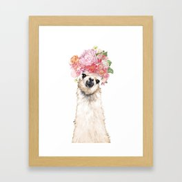 Llama with Beautiful Flowers Crown Framed Art Print