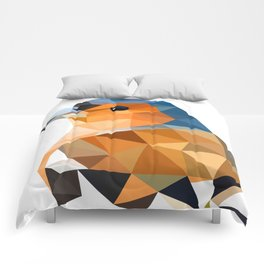 Chaffinch Bird art Geometric artwork Orange brown and blue Comforters