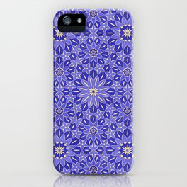 Rings of Flowers - Color: Royal Blue & Gold iPhone Case