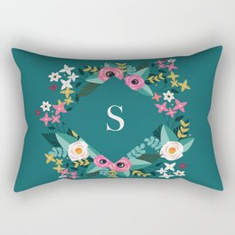 Dark Green Floral Monogram S Rectangular Pillow