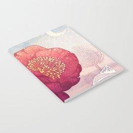 Christmas Roses :: Red Petals, Frosted Leaves Notebook