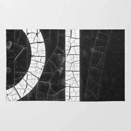 Black And White Binary Numbers In Cracked Paint Rug