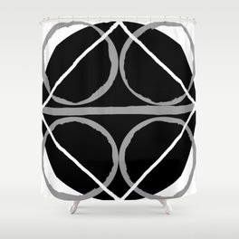 Geometric Unity Centered in a Circle Shower Curtain