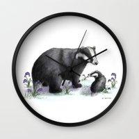 badger Wall Clocks featuring Badger by SteveStanleyArt