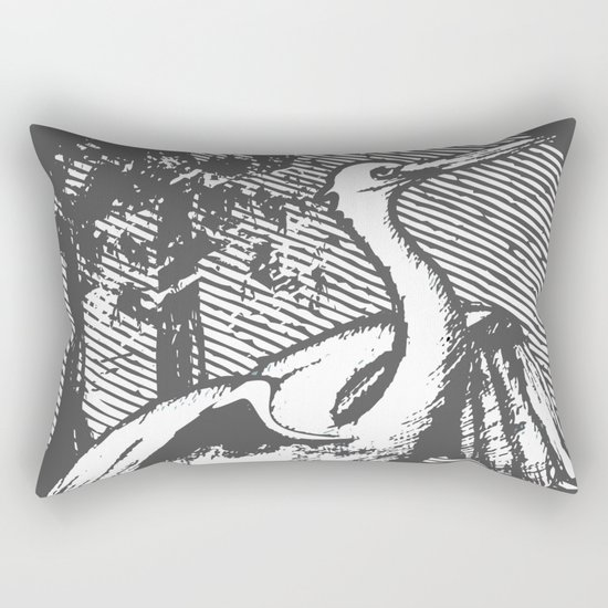 Gray crane illustration Rectangular Pillow