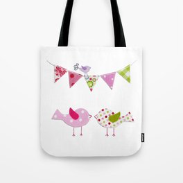 Pink Birds with party flags Tote Bag