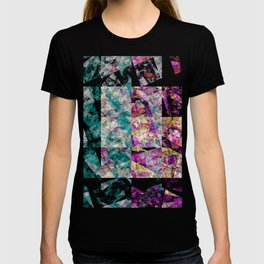 Shattered Glass - Abstract in Pink and Teal T-shirt