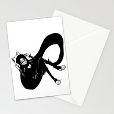 Black N White  cat girl  Stationery Cards