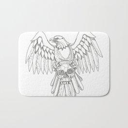 American Eagle Clutching Skull Doodle Bath Mat