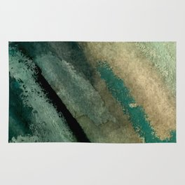 Green Thumb - an abstract mixed media piece in greens and blues Rug