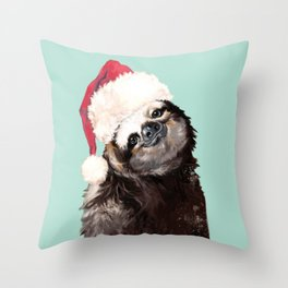 Christmas Sloth in Green Throw Pillow