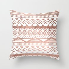 Faux rose gold handdrawn trendy tribal aztec pattern Throw Pillow