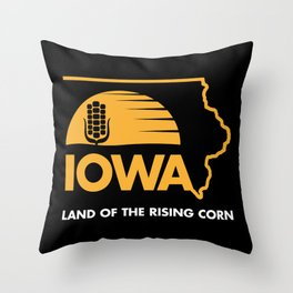 Iowa: Land of the Rising Corn - Black and Gold Edition Throw Pillow
