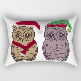 Santa Owl and Elf Owl Rectangular Pillow