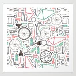 Cycling Bike Parts Art Print