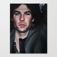 the vampire diaries Canvas Prints featuring Ian Somerhalder (Damon from Vampire Diaries) by Britanee LeeAnn Sickles