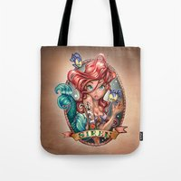 cow Tote Bags featuring SIREN by Tim Shumate