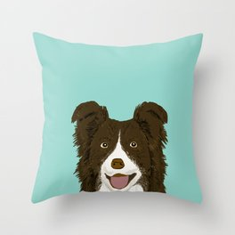 Border Collie chocolate brown cute working dog breed herding dogs gift for border collie owner pets Throw Pillow