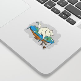 Flat Earth Cat Sticker