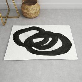 Black & White Minimalist Ink Tribal Mid Century Pattern Dark Painting Pattern Rug