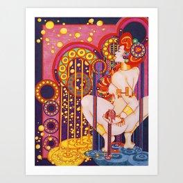 Red Head Klimt Art Print