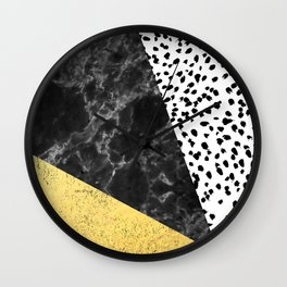 Mele - gold abstract painting art decor dorm college trendy hipster foil glitter black and white dot Wall Clock