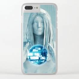 Lady Using Digital Solutions Technology Concept Art Clear iPhone Case