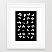 origami Framed Art Prints featuring origami by spinL