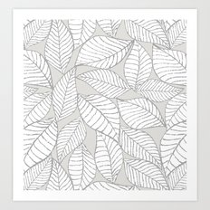 Leaves on gray Art Print