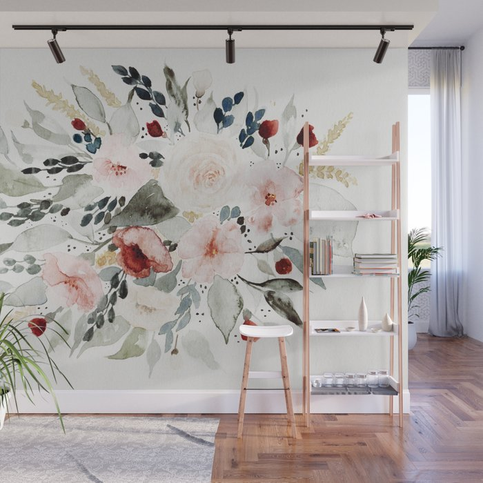 Loose Watercolor Bouquet Wall Mural