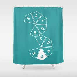Teal Unrolled D10 Shower Curtain