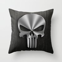 punisher Throw Pillows featuring The Punisher by Andrian Kembara