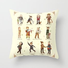 The Twelve Doctors of Christmas Throw Pillow