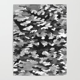 Foliage Abstract Pop Art In Monotone Black and White Poster