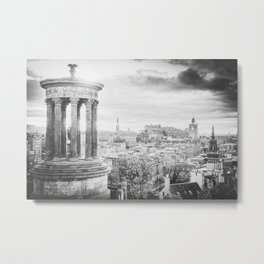 Edinburgh city and castle from Calton hill and Stewart monument 4 Metal Print