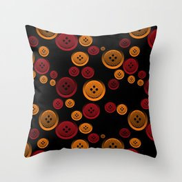 Colorful buttons on a black background. Throw Pillow